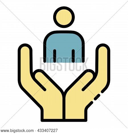 Volunteer Man Care Icon. Outline Volunteer Man Care Vector Icon Color Flat Isolated