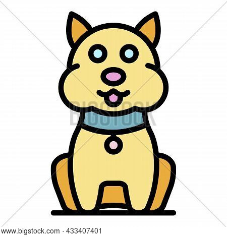 Mite On Cat Icon. Outline Mite On Cat Vector Icon Color Flat Isolated