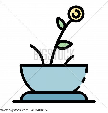 Flower House Pot Icon. Outline Flower House Pot Vector Icon Color Flat Isolated