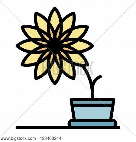 Big Flower Pot Icon. Outline Big Flower Pot Vector Icon Color Flat Isolated