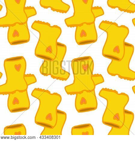 The Pattern Is Yellow Rubber Boots. Seamless Pattern Of A Pair Of Hand-drawn Shoes In The Doodle Sty