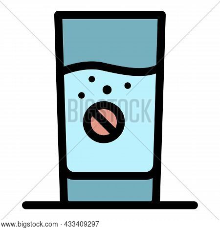 Aspirin In A Glass Of Water Icon. Outline Aspirin In A Glass Of Water Vector Icon Color Flat Isolate