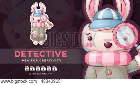 Hare Is Looking For Evidence. Vector Eps 10