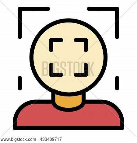 Face Recognition Frame Icon. Outline Face Recognition Frame Vector Icon Color Flat Isolated