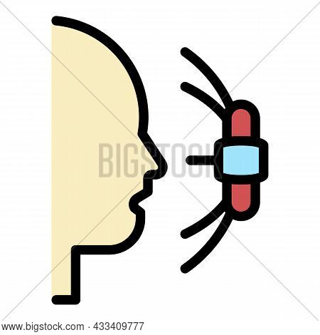 Face Recognition Camera Icon. Outline Face Recognition Camera Vector Icon Color Flat Isolated