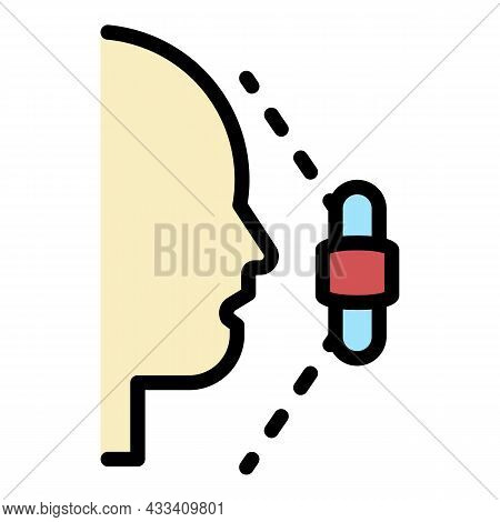 Face Recognition Area Icon. Outline Face Recognition Area Vector Icon Color Flat Isolated