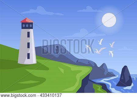 Landscape Watchtower Flat Illustration Concept Vector Design