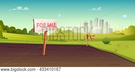 Sale Of Suburban Land. A Sign On The Ground For The Sale. Rural Area Near The City. Field Or Site Fo