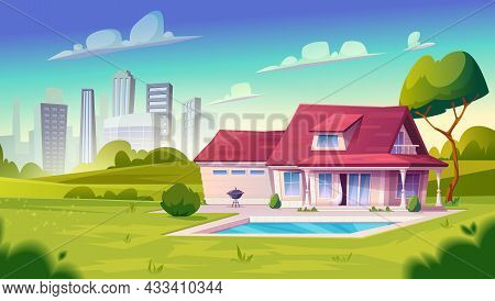 Suburban House, Residential Cottage, Real Estate Countryside Building Exterior.two Storey Dwelling P