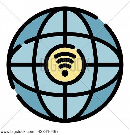 Globus And 5g Network Icon. Outline Globus And 5g Network Vector Icon Color Flat Isolated