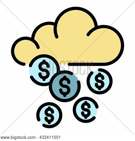 Cyber Cloud Robbery Icon. Outline Cyber Cloud Robbery Vector Icon Color Flat Isolated
