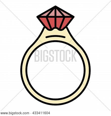 Ruby Ring Icon. Outline Name Vector Icon Color Flat Isolated