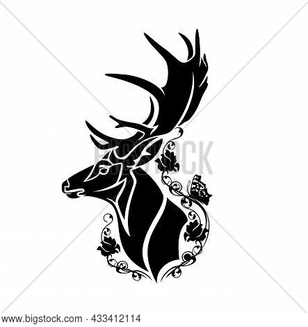 Deer Stag Head Among Wild Rose Flowers And Butterflies - Wild Forest Animal Black And White Vector P