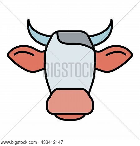 Cow Head Horns Icon. Outline Cow Head Horns Vector Icon Color Flat Isolated