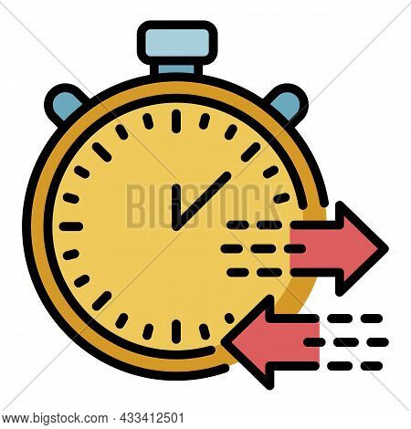Export Time Icon. Outline Export Time Vector Icon Color Flat Isolated