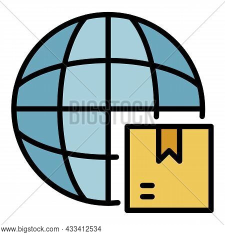 World Export Icon. Outline World Export Vector Icon Color Flat Isolated