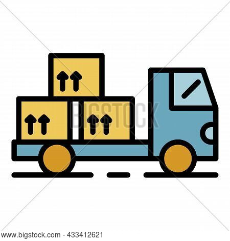 Transportation Of Export Goods Icon. Outline Transportation Of Export Goods Vector Icon Color Flat I