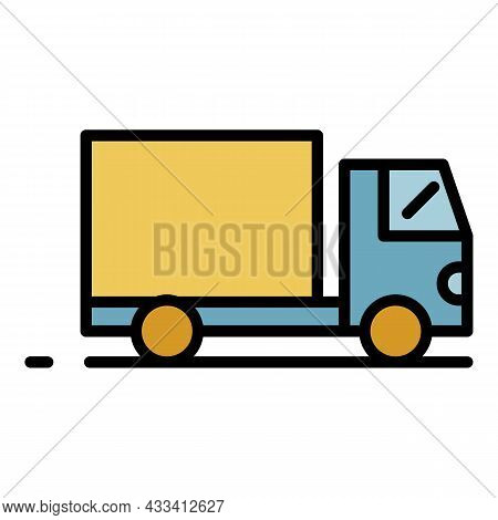 Export Cargo Truck Icon. Outline Export Cargo Truck Vector Icon Color Flat Isolated