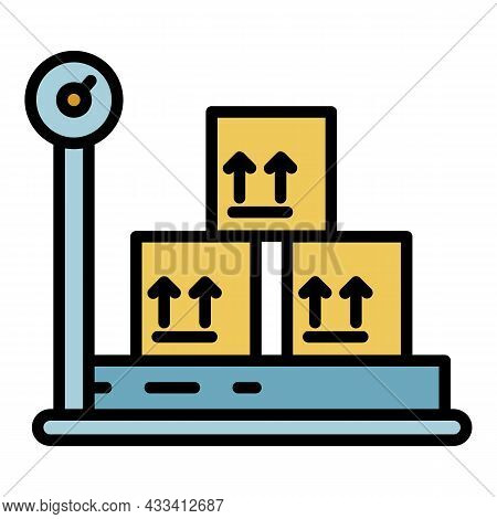 Weighing Goods Icon. Outline Weighing Goods Vector Icon Color Flat Isolated