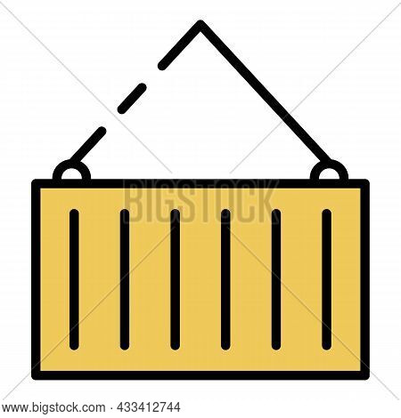 Large Export Container Icon. Outline Large Export Container Vector Icon Color Flat Isolated