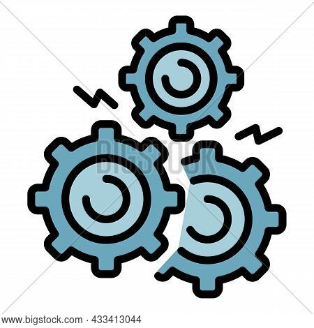 Gear Supply Icon. Outline Gear Supply Vector Icon Color Flat Isolated
