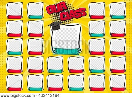 Our Class Photo Frame For Teacher With Students. Pop Art Page For Class Photos. Template For The Des