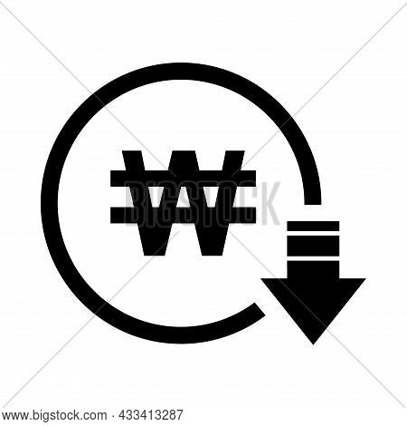 Won Reduction Symbol, Cost Decrease Icon. Reduce Debt Bussiness Sign Vector Illustration .