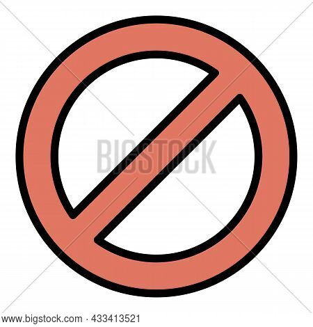 Restricted Circle Icon. Outline Restricted Circle Vector Icon Color Flat Isolated