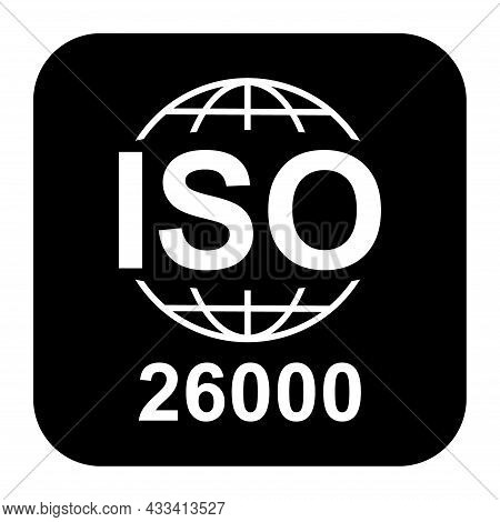 Iso 26000 Icon. Social Responsibility. Standard Quality Symbol. Vector Button Sign Isolated On Black