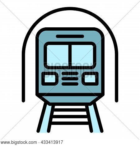 Subway Train Icon. Outline Subway Train Vector Icon Color Flat Isolated