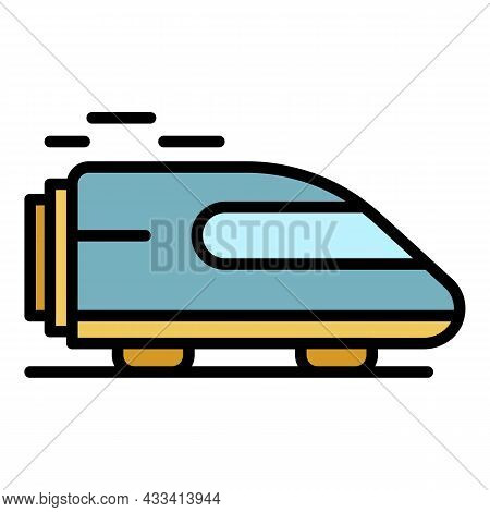 Fast Train Icon. Outline Fast Train Vector Icon Color Flat Isolated