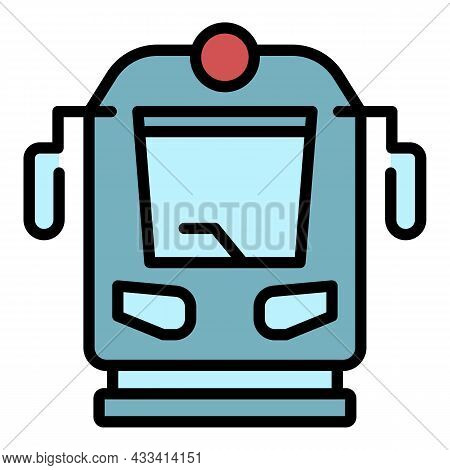 Train Front View Icon. Outline Train Front View Vector Icon Color Flat Isolated