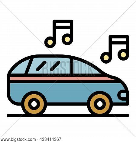 Car Audio Icon. Outline Car Audio Vector Icon Color Flat Isolated