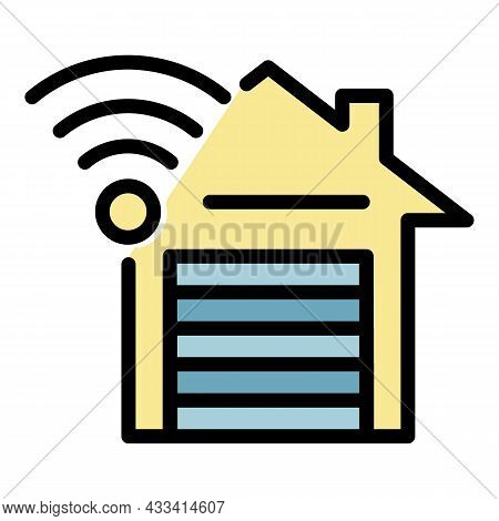 Garage Doors Control Icon. Outline Garage Doors Control Vector Icon Color Flat Isolated