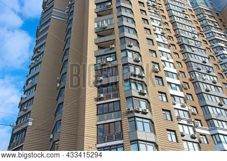 Kyiv - Ukraine. 09 March 2019:modern Residential Complex With Colorful Design Of Building Facades An