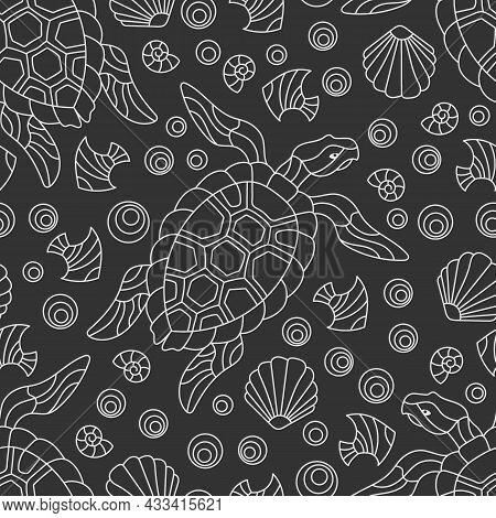 Seamless Pattern With Light Contour Geometric Turtles And Seashells, Outline Animals On A Dark Backg