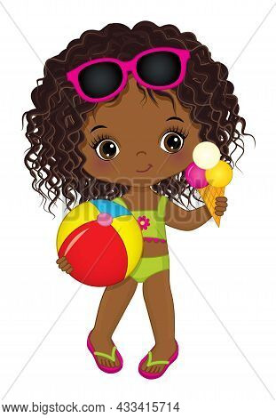 Cute Little African American Girl Wearing Swimsuit, Sunglasses And Flip-flops Holding Beach Ball And