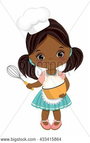 Cute Little African American Girl Wearing Chefs Toque And Apron Mixing Flour In Bowl. Cute Black Gir