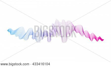 Abstract Backdrop With Blue And Purple Wave Gradient Lines On White Background. Modern Technology Ba
