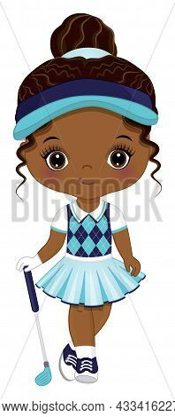 Cute Little African American Girl Wearing Turquoise, Navy And White Sport Outfit Playing Golf. Littl