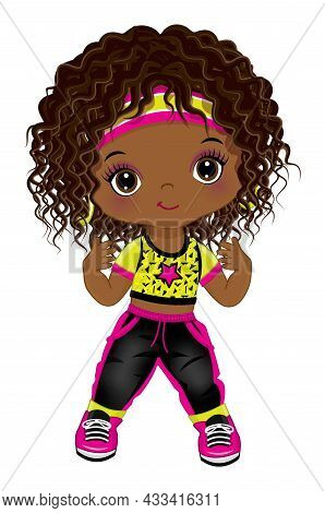 Cute Little African American Girl Wearing Black Joggers And Yellow T-shirt Dancing Hip Hop. The Blac