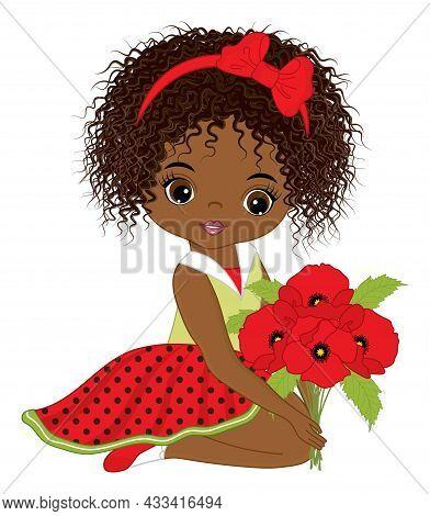Beautiful African American Girl Wearing Polka Dot Dress, Holding Bunch Of Poppies. Cute Girl Is Curl