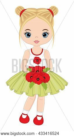 Beautiful Young Girl Holding Bunch Of Red Poppies. Cute Girl Is Blond With Two Buns And Blue Eyes. V