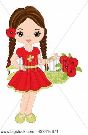 Beautiful Young Girl Holding Basket Of Red Poppies. Cute Girl Is Brunette With Pigtails Wearing Red