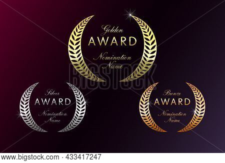 Awards Logotype Set. Isolated Abstract Graphic Design Template. Elegant Nominee Emblem. First 1st, S