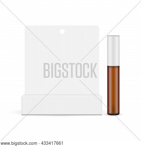 Amber Cosmetic Tube Mockup With Paper Box Isolated On White Background, Front View. Vector Illustrat