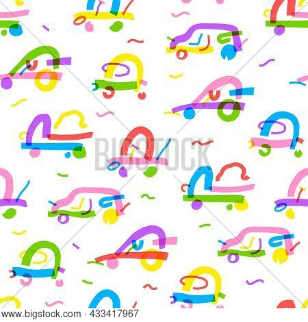 Seamless Pattern Of Different Cars In Bright Colors. Background Abstract Cars In Simple Line Style.