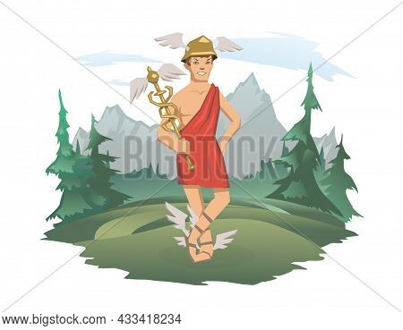 Hermes, Ancient Greek God Of Roadways, Travelers, Merchants And Thieves, Messenger Of The Gods. Anci