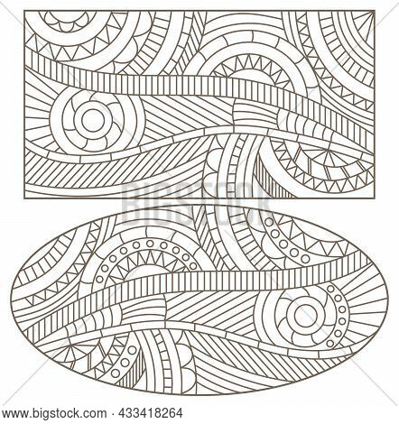 A Set Of Contour Illustrations In The Style Of Stained Glass With Abstract Patterned Backgrounds, Da
