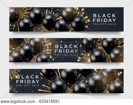 Three Black Friday Horizontal Sale Poster With Realistic Balloons, Fireworks And Confetti On Black B